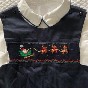 Carouselwear Smocked Christmas Overalls 24mo